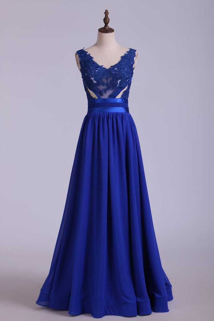 V-Neck Prom Dresses A Line Chiffon With Applique Dark Royal