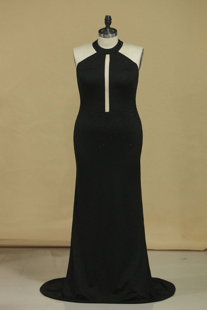 New Arrival Black Halter Prom Dresses Mermaid With Beading Black Spandex