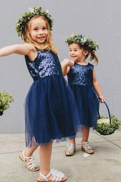 Vintage Navy Blue Sequins Flower Girls Dresses, Short Tulle Birthday Girl Dresses STC15607