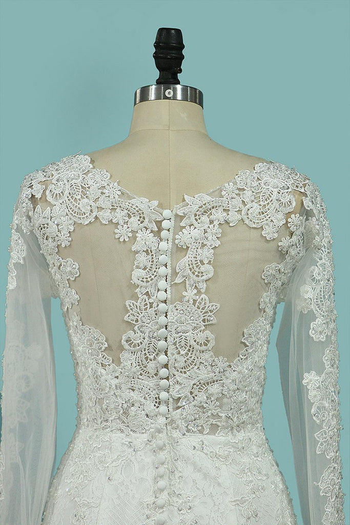 2019 Scoop Mermaid Wedding Dresses Long Sleeves Lace