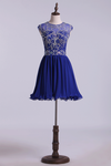 2019 Scoop A Line Dark Royal Blue Homecoming Dresses Beaded Bodice Tulle&Chiffon