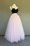 A Line Two Pieces Spaghetti Straps Black And Pink Prom Dresses Formal STC15614