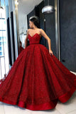 Sparkly Ball Gown Burgundy Strapless Sweetheart Prom Dresses, Long Quinceanera Dresses STC15428