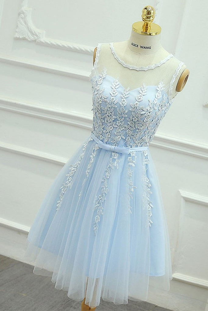 2019 Homecoming Dresses Scoop Tulle With Applique And Sash A