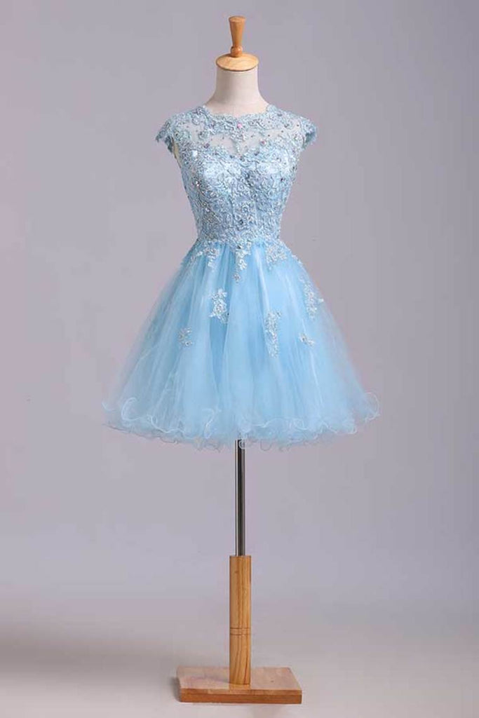 2019 Scoop Short/Mini Prom Dress A Line Tulle Skirt Embellished Bodice With Beads And Applique Cap