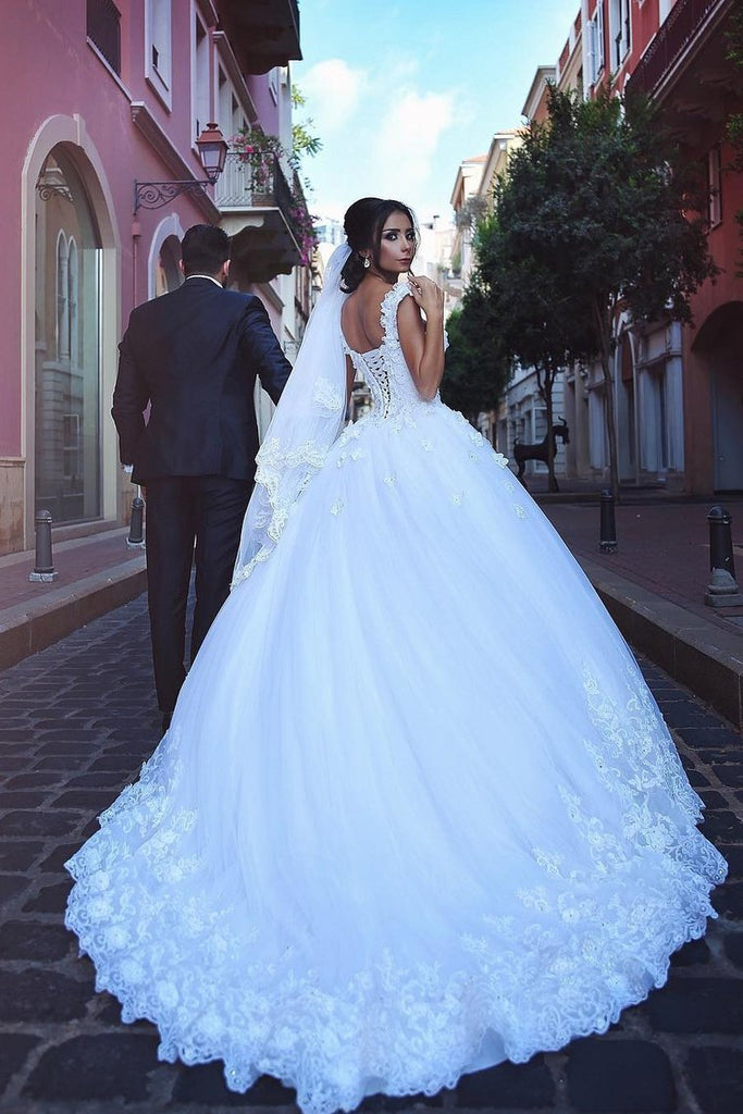 2019 Off The Shoulder Wedding Dresses Tulle With Applique A Line Court