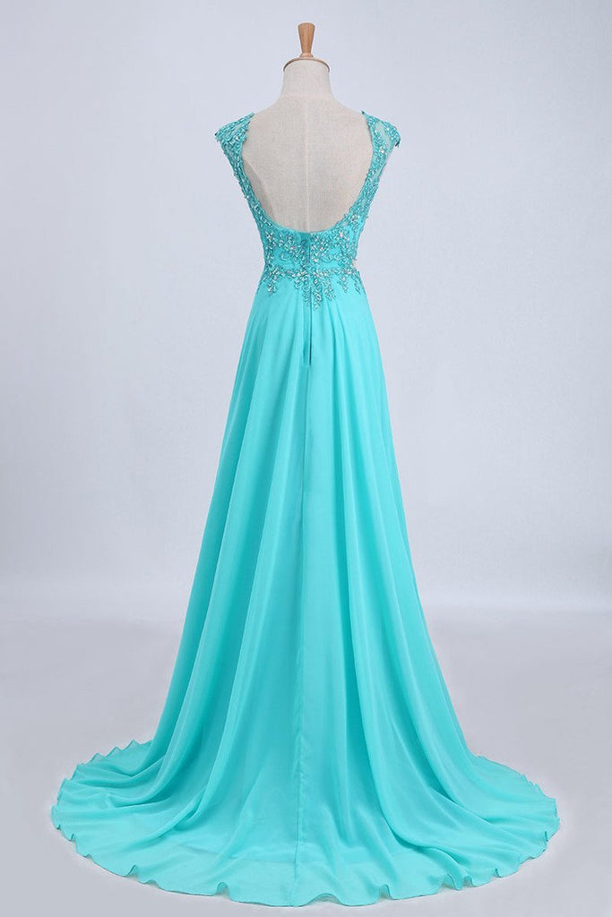 Two Pieces Prom Dresses Bateau Backless A Line Chiffon Sweep Train With