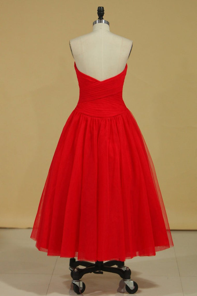 2019 Red Sweetheart Prom Dresses A Line Tulle With Ruffles Ankle Length Size