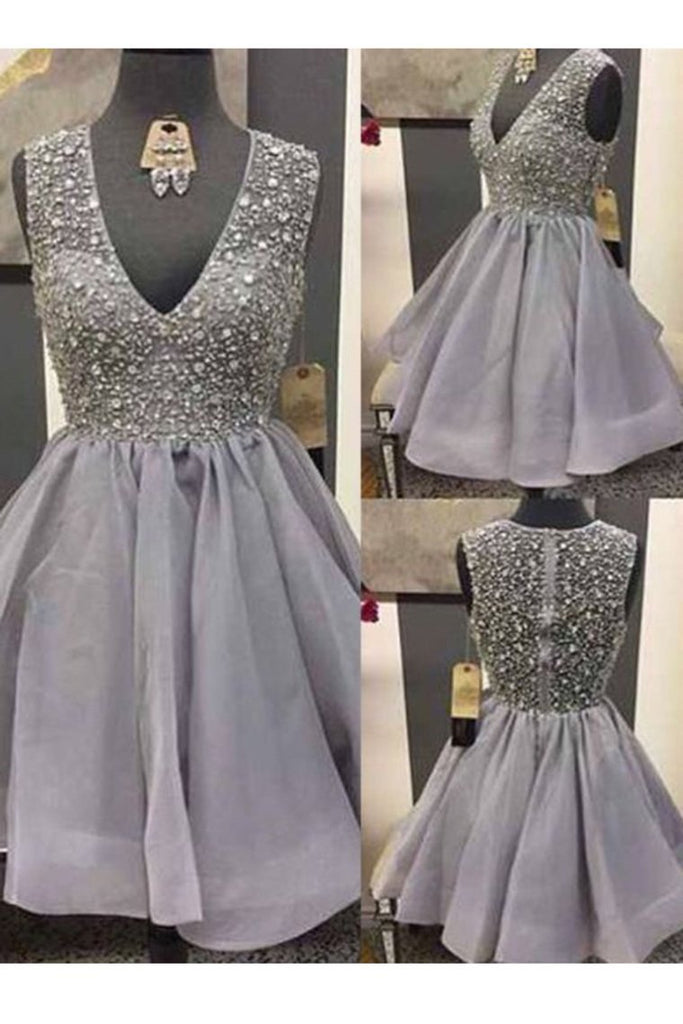 2019 Homecoming Dresses A Line V Neck Tulle With Beading