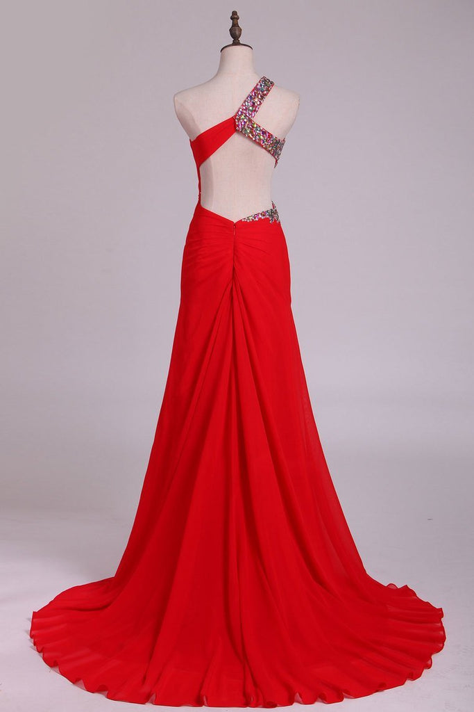 2019 One Shoulder Sheath Prom Dresses Red Chiffon With Beads And Slit