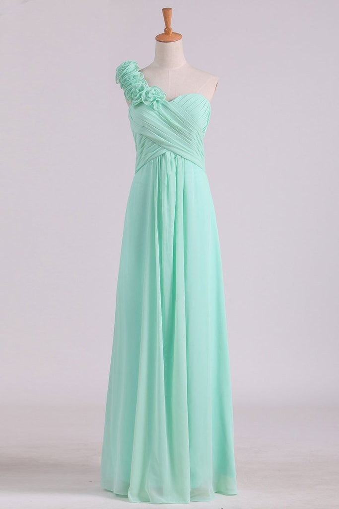 2020  A Line One Shoulder With Handmade Flowers Chiffon Bridesmaid Dress