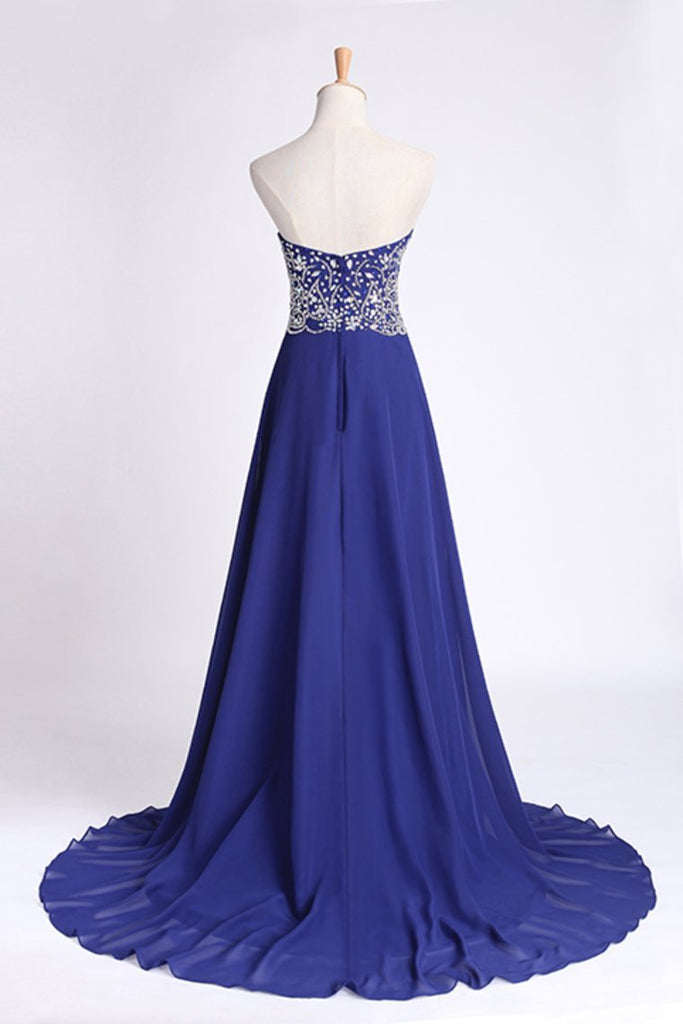 2019 Prom Dress Sweetheart Beaded Bodice A Line Chiffon Dark Royal Blue