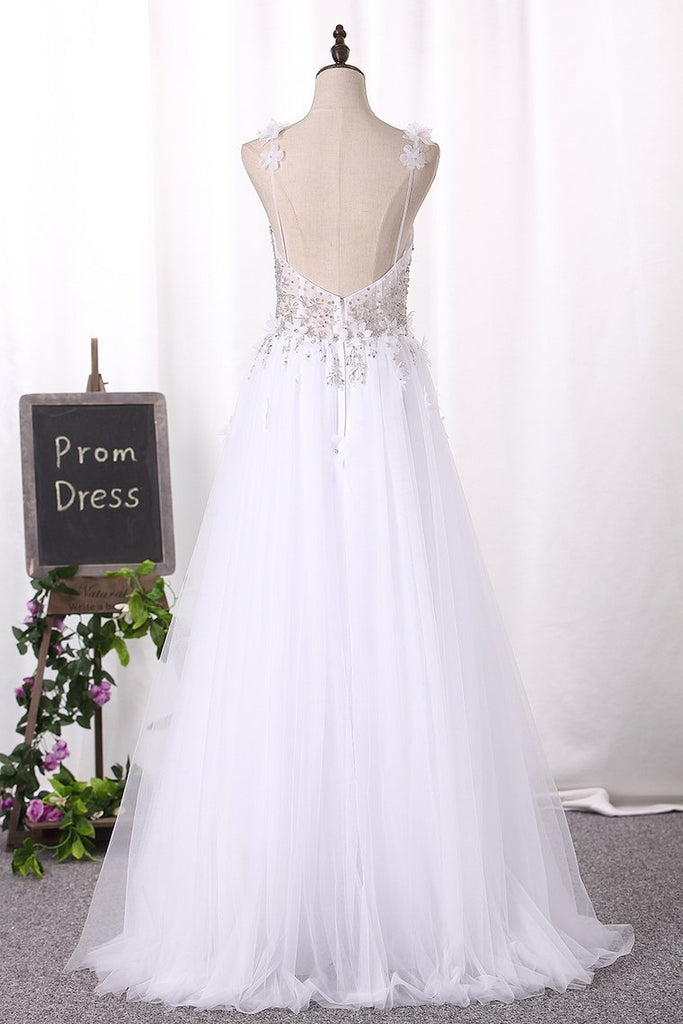 Spaghetti Straps Wedding Dresses A Line Tulle With Beads And