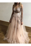 Sheer Round Neck Appliques Long Sleeves Tulle Prom Party STCP3AF4A68