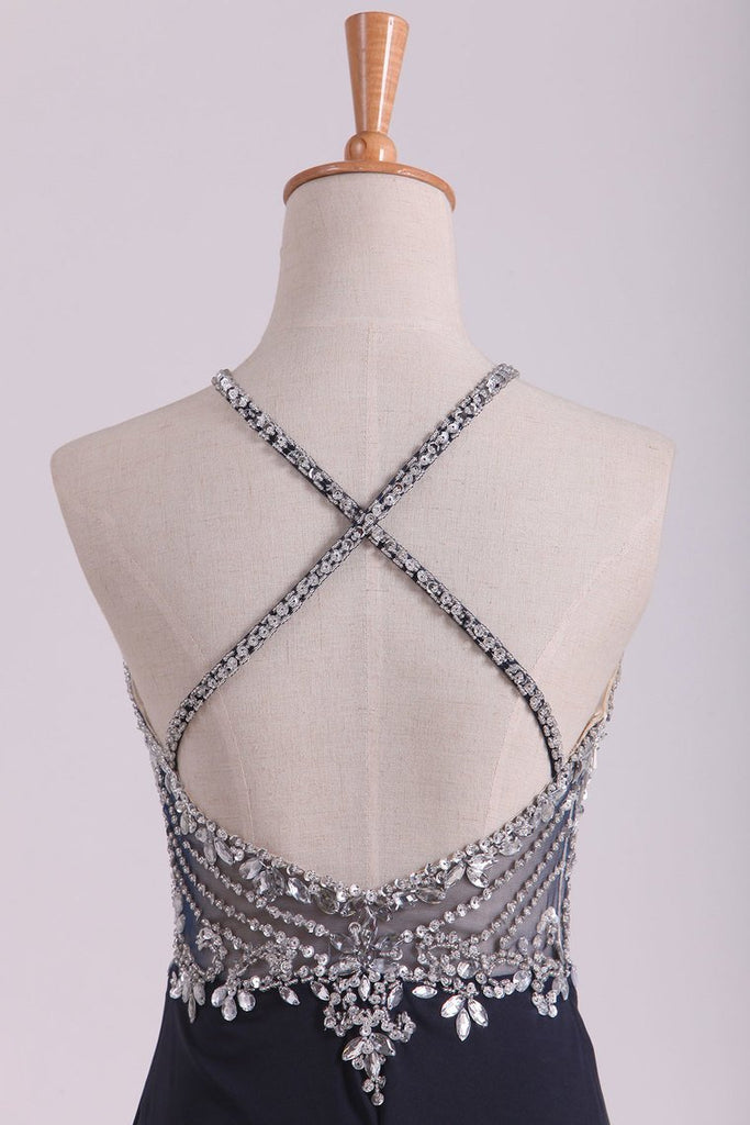 2019 Sexy Open Back Spaghetti Straps Beaded Bodiced Prom Dresses