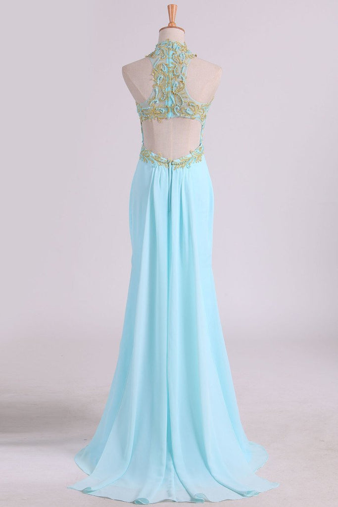 2019 Sheath Open Back High Neck Chiffon With Applique And Beads Prom
