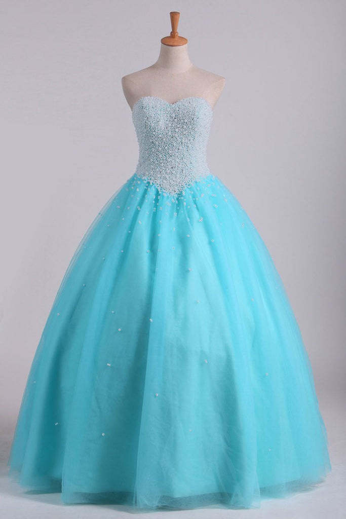 2019 Ball Gown Sweetheart Quinceanera Dresses With Pearls & Rhinestones Tulle