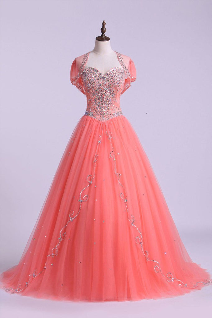 2021 Sweetheart Quinceanera Dresses A Line Beaded Tulle Floor