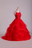 2021 Red Scoop Ball Gown Tulle Floor Length With