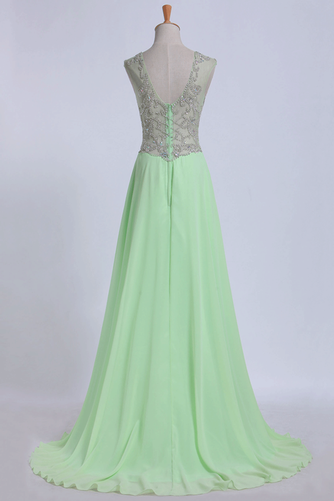 2019 V-Neck Prom Dresses A-Line/Princess With Beads