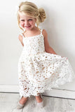 Cute Spaghetti Straps Lace Appliques Flower Girl Dresses, Child Dresses STC15137