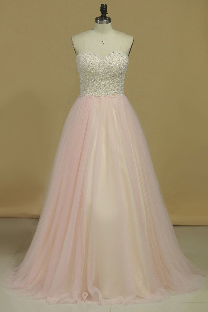 2019 Prom Dresses Sweetheart Beaded Bodice A Line Tulle Sweep