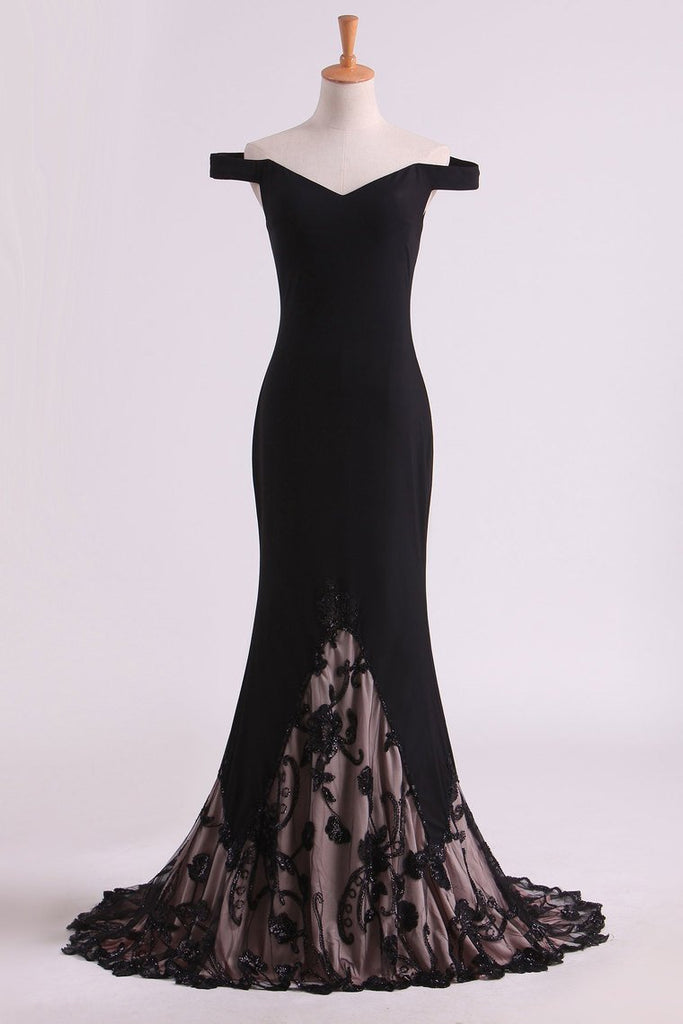 Hot Black Prom Dresses Mermaid With Embroidery And Beads Sweep Train