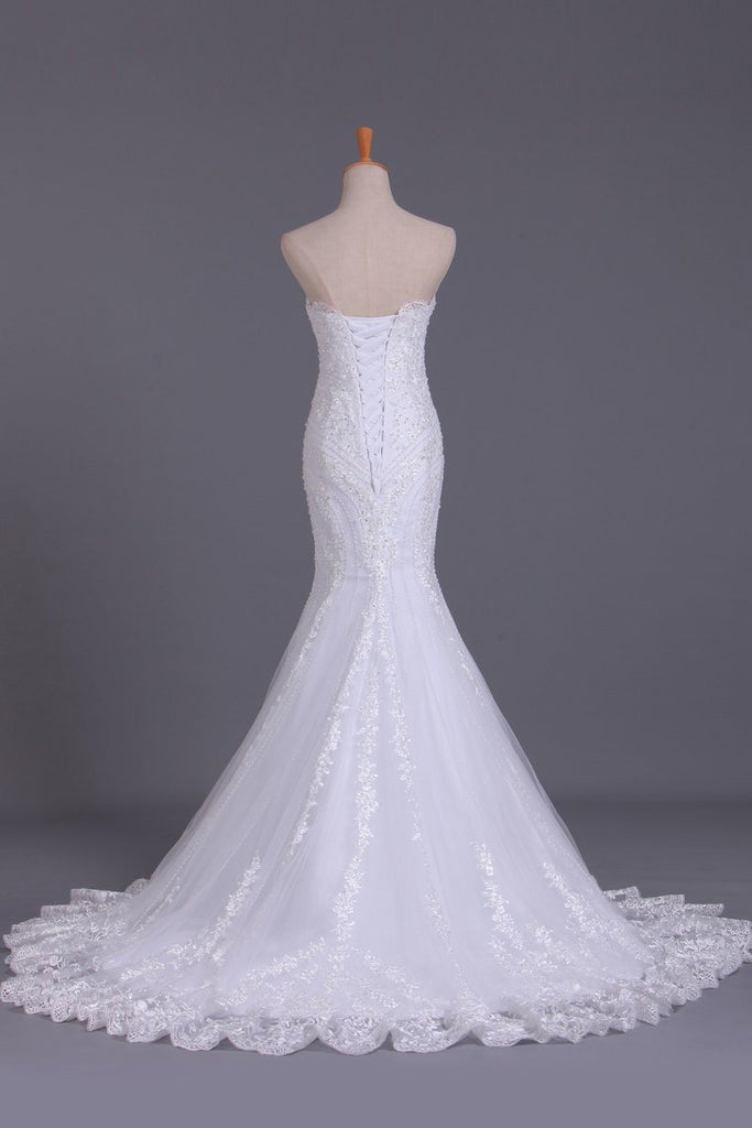 2019 Wedding Dresses Strapless Mermaid Chapel Train With Applique Lace