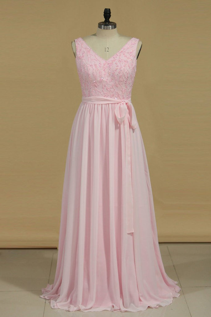 2019 A Line Bridesmaid Dresses V Neck Beaded Bodice Chiffon Floor Length