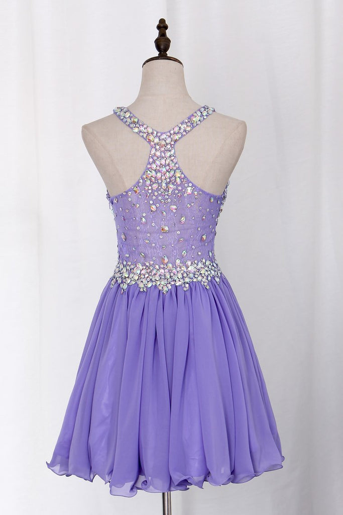 Delicate Short/Mini Halter A Line/Princess Homecoming Dresses Lace&Chiffon Beaded Bodice
