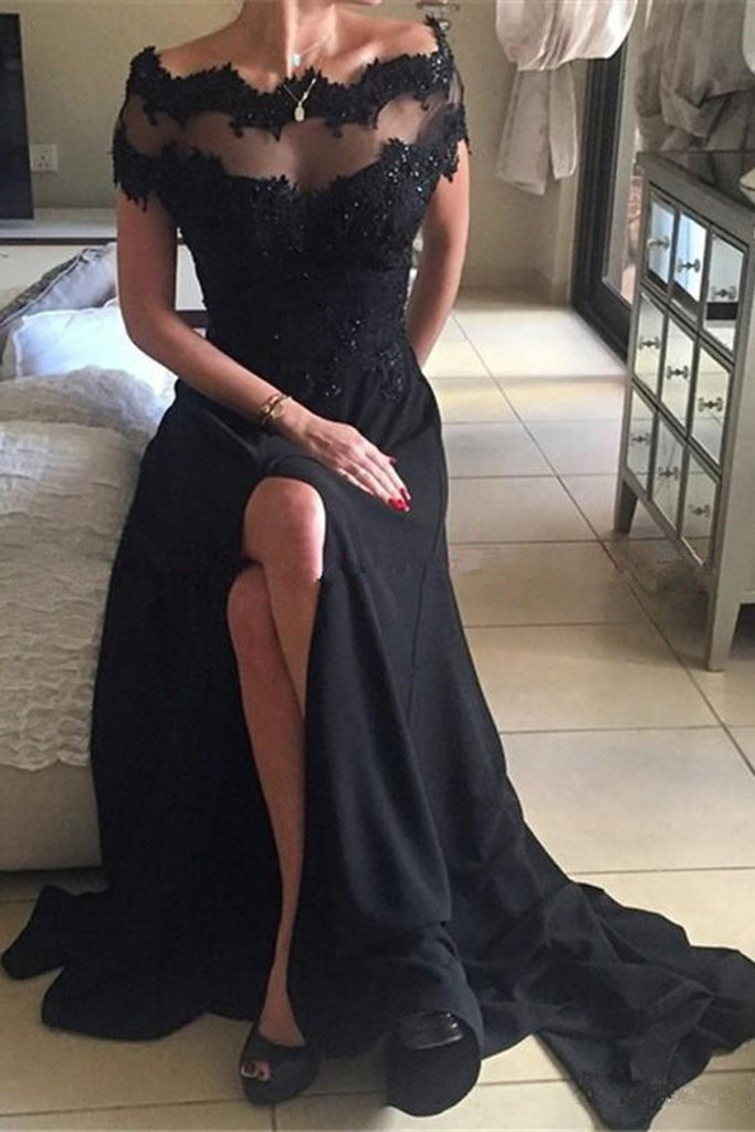 2019 New Arrival Prom Dresses Bateau Spandex With Applique And Slit A