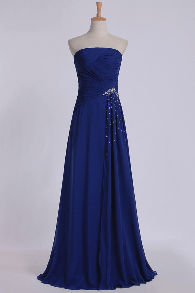 2019 Classic Prom Dresses Strapless A Line Chiffon Floor Length With Ruffles And Beads