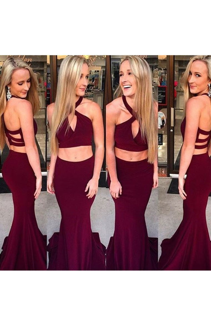 2019 Two-Piece Halter Open Back Mermaid Spandex Sweep Train Evening