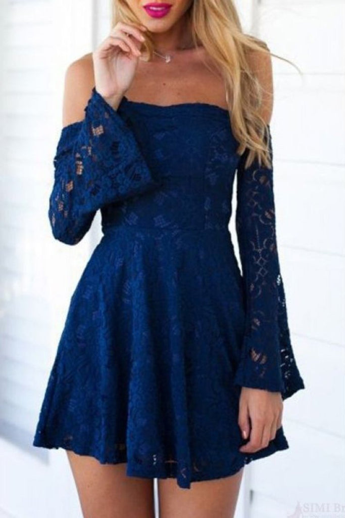 2019 Long Sleeves Cocktail Dresses A Line Lace Zipper Up