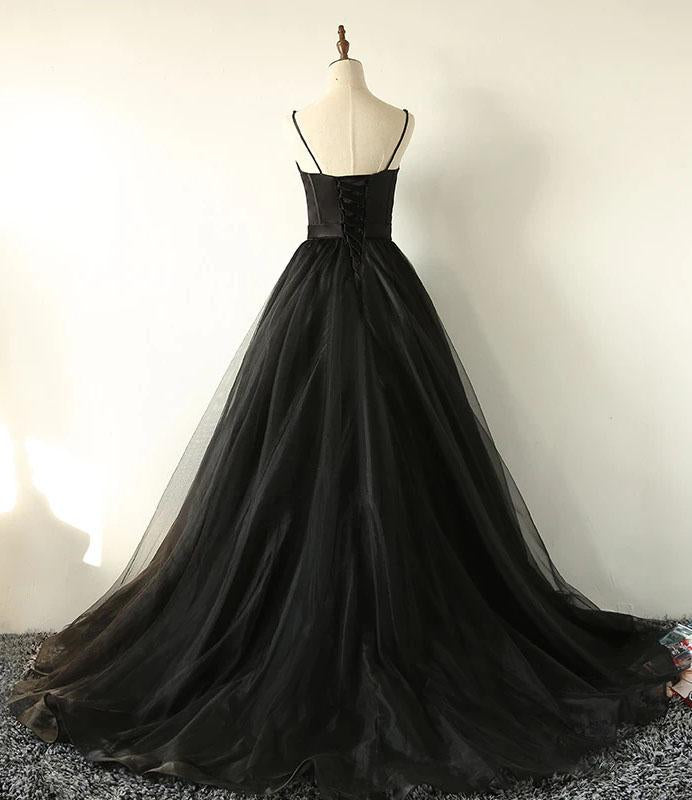 Charming Black Spaghetti Straps Sweetheart Tulle Evening Dresses Formal STC15626