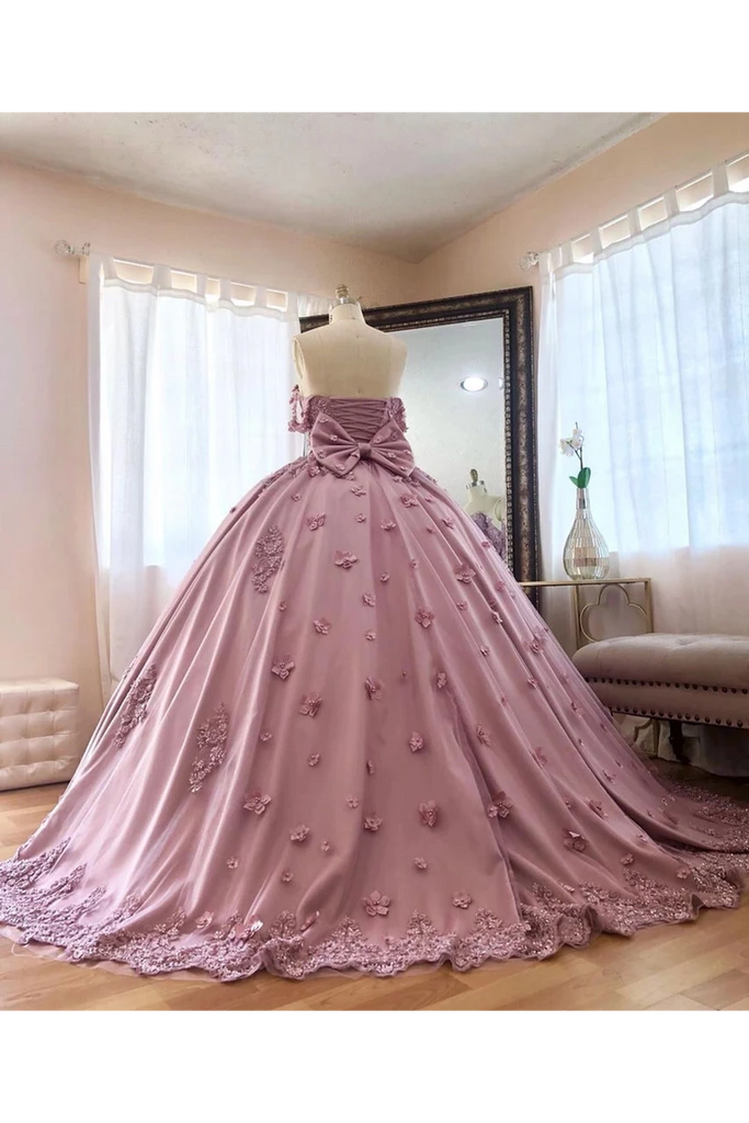 Ball Gown Off The Shoulder Tulle Quinceanera Dress With Lace Appliques Puffy Prom STCP3HM7KB3