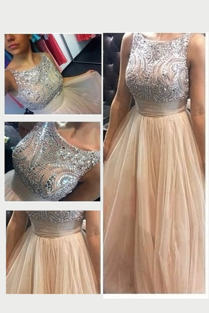 2019 Scoop A Line Prom Dresses Tulle With Beads And