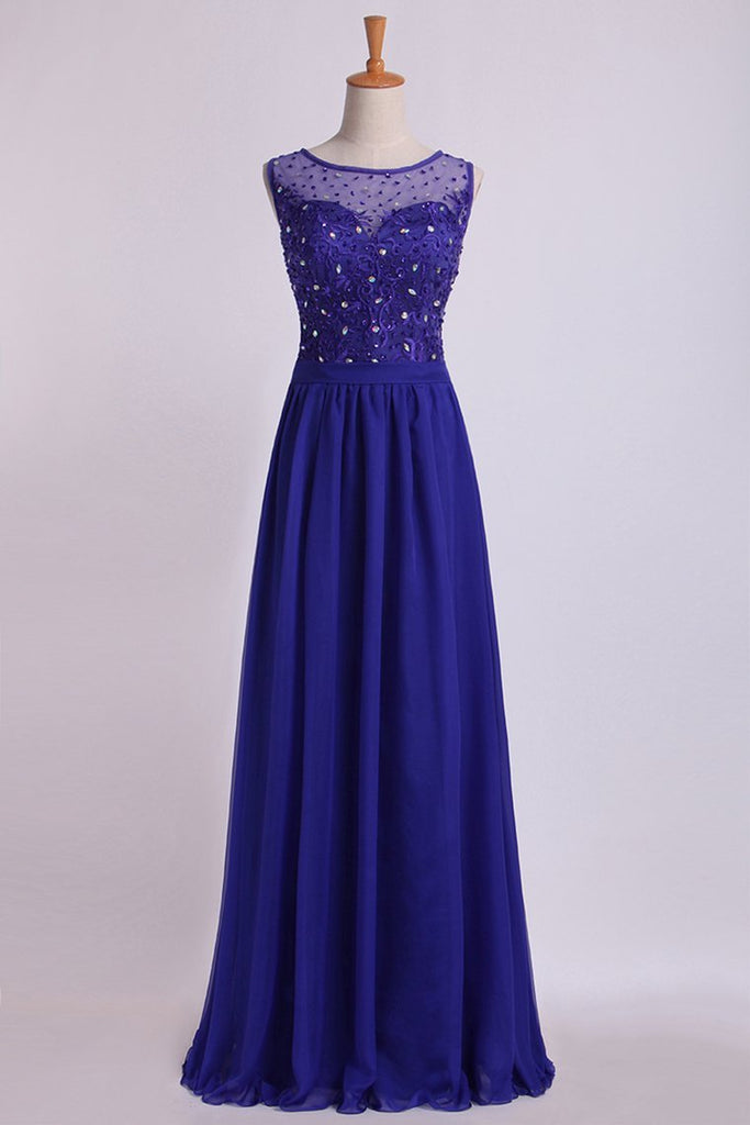 2019 Bateau Prom Dress A Line Floor Length With Embroidery And Beads Chiffon&Tulle