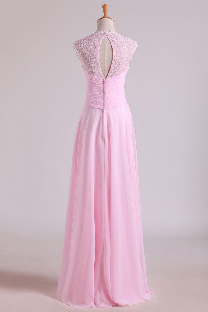 V-Neck Bridesmaid Dresses A-Line Floor-Length With