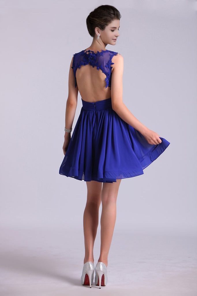 2019 Hot Selling Homecoming Dresses Scoop A-Line Short/Mini Chiffon Dark Royal Blue