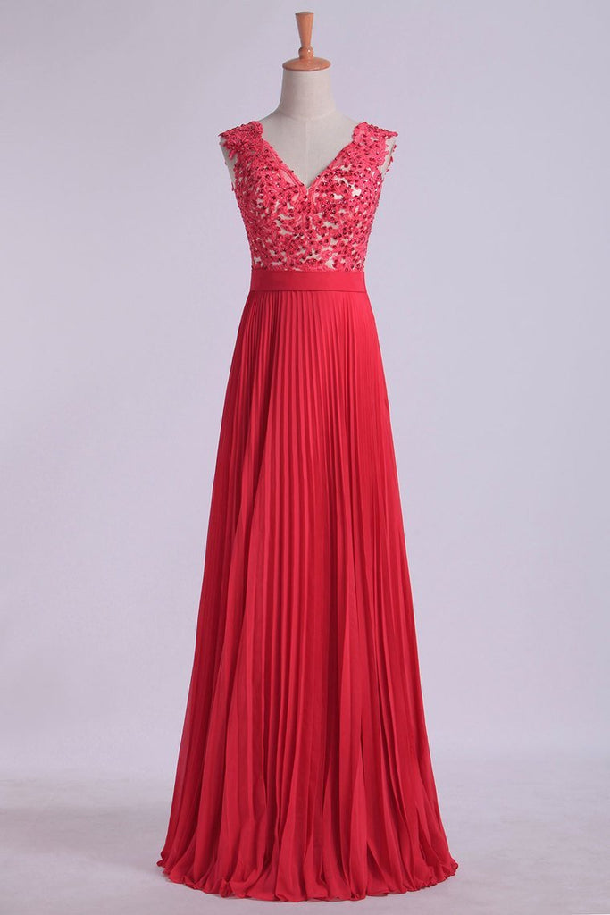 2021 V Neck Prom Dress Appliqued Bodice Ruched Waistband Flowing Chiffon Skirt