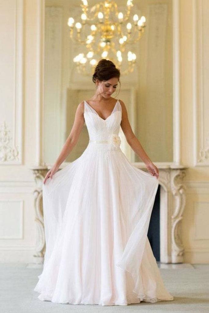 Floor Length V Neck Sleeveless Chiffon Beach Wedding Dress With STCP3HX82S3