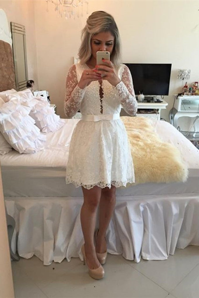 2019 Lace V Neck A Line Homecoming Dresses Long Sleeves Lace With