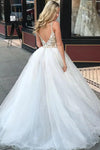 Sheath Spaghetti Straps White Detachable Train Prom Dress with Appliques, Quinceanera Dresses STC15373