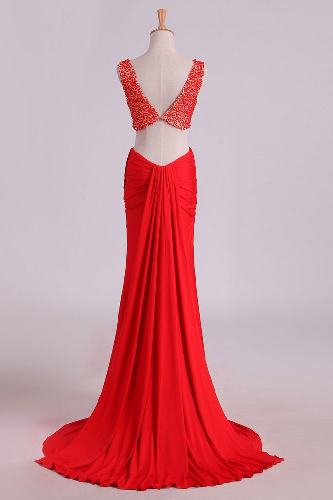 Prom Dresses Scoop Beaded Bodice Sheath Two Pieces Spandex Sweep Train