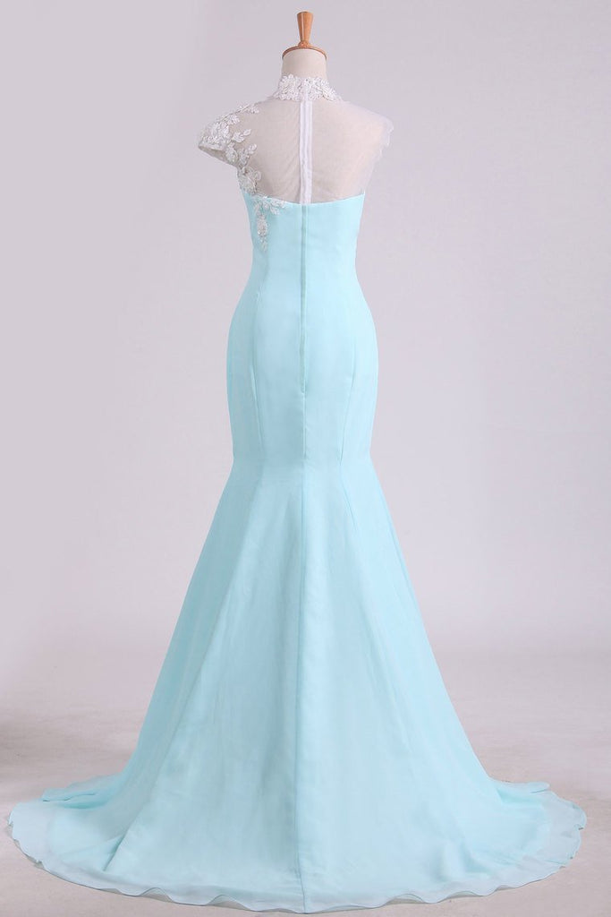 2019 Mermaid Prom Dresses High Neck Chiffon With Applique And Beads Sweep Train