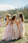 A line Blush Pink Flower Girl Dresses with Sash Gold Top Dresses for Kids STC15545