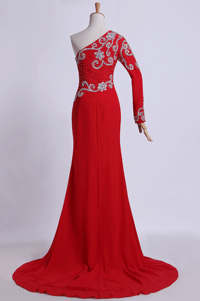 2019 Long Dress One Sleeve Beaded Bodice Sheath/Column With Chiffon Skirt