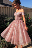 Elegant Off the Shoulder Pink Sequins Sweetheart Short Prom Dresses, Bridesmaid Dresses STC15189