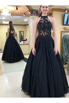 Halter Neckline Black Long Prom Dresses Formal Evening Dress Tulle STCPJHYQ138